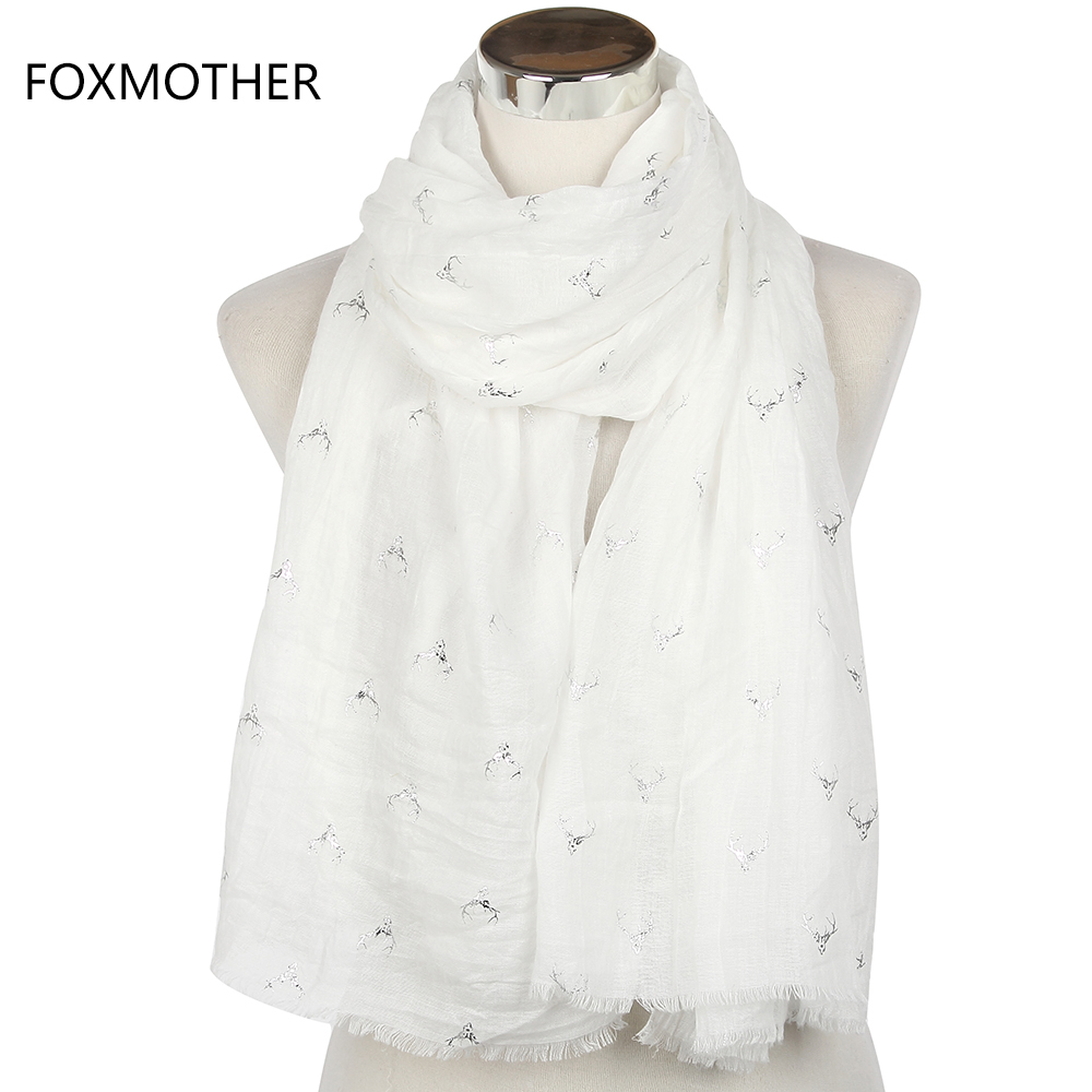 FOXMOTHER 2018 New Women Fashion White Bronzing Silver Stag Moose Deer Head Long   Scarves     Wrap   Shawls With Fringe