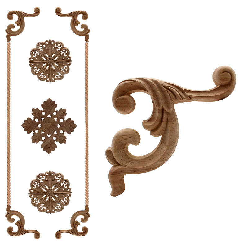 European Style Real Rubber Wood Long Floral Carving Applique Home Decoration Accessories Door Cabinet Furniture Figurines 59*1 Furniture Accessories