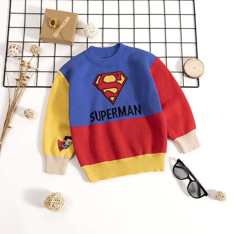 Kids Boys Cartoon Sweaters Casual Children Knit Autumn Warm Pullover Sweater For Boy Toddler Long Sleeve Wear Appliques Clothes 2