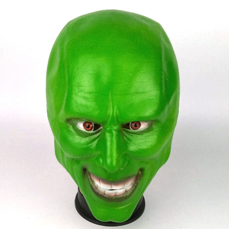 new The Mask Movie Jim Carrey Cosplay Costumes Green Mask Costume Fancy Latex Masks Halloween Party for adult image