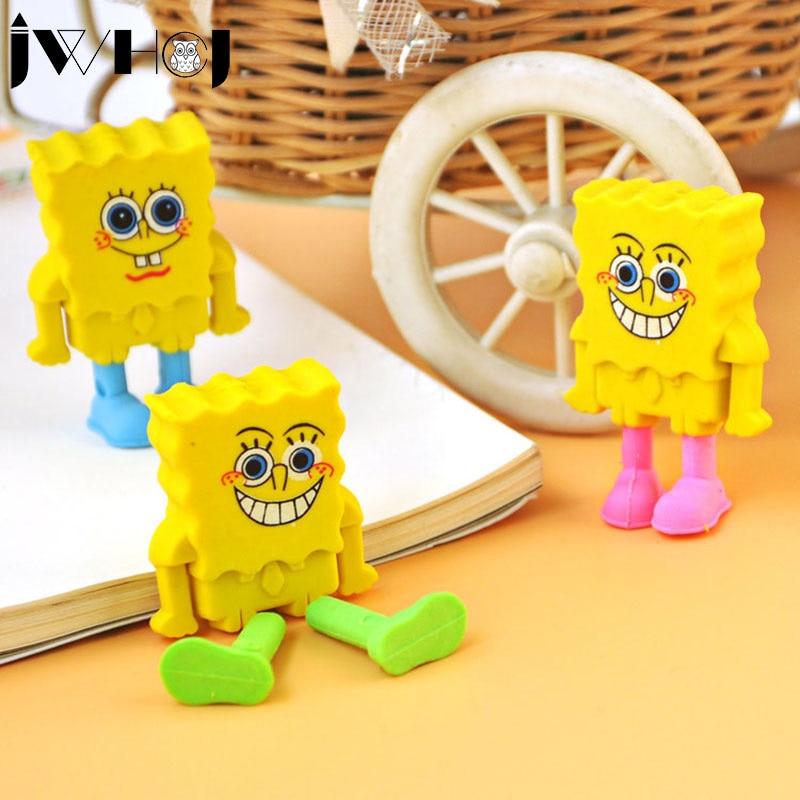 2 pcs/lot JWHCJ Novelty Spongebob squarepants rubber eraser kawaii creative stationery school supplies papelaria gifts for kids