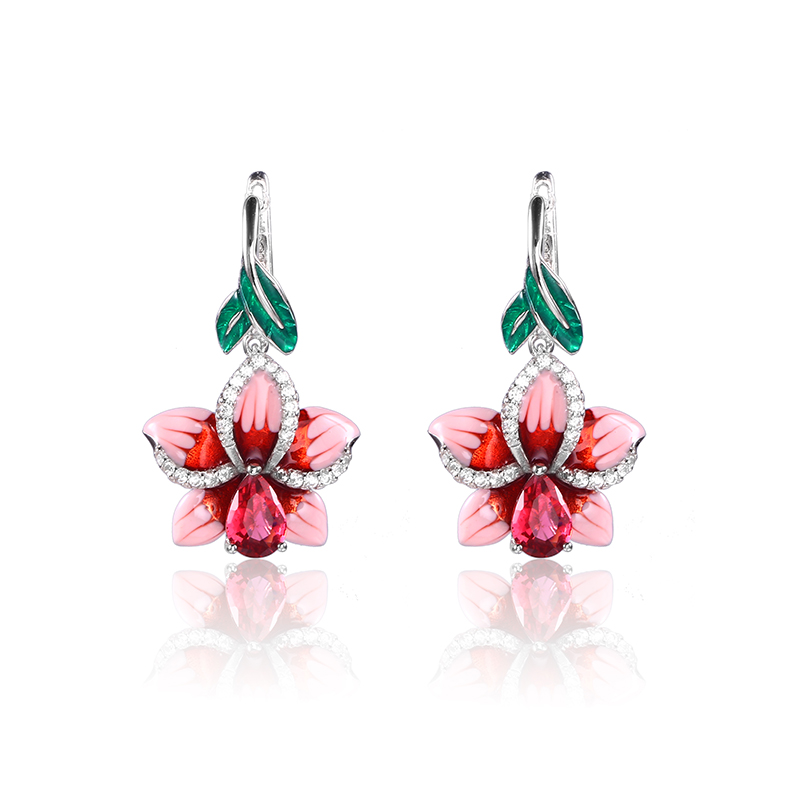 Orquídea rosa de cobre pendientes para las mujeres pendientes colgantes esmalte flor pendiente con piedras Vintage Boho largo pendiente de la joyería