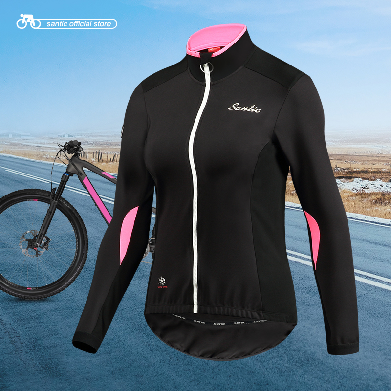Santic Women Outdoor Cycling Jackets Pro Fit SANTIC WARM+ Fabric Cycling Fleece Jackets Coats Thermal Jackets Keep Warm L7C01083