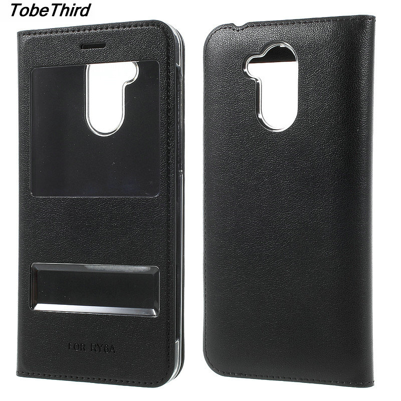 TobeThird For Huawei Honor 6A Case Double Window Leather Fli