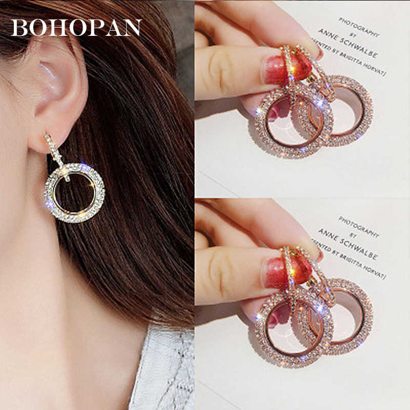Shiny Crystal Earrings For Women 4 Color Alloy Double Circle Round Hoop Earrings Fashion Jewelry Party Bijoux aros mujer oreja