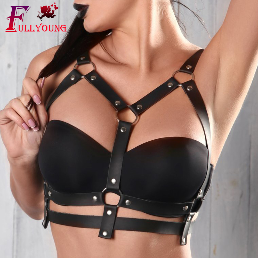 Fullyoung 2019 Leather Harness Stocking Belt Body Bondage Top Chest Straps Sexy Black Leather Bra Women Punk Gothic Suspender