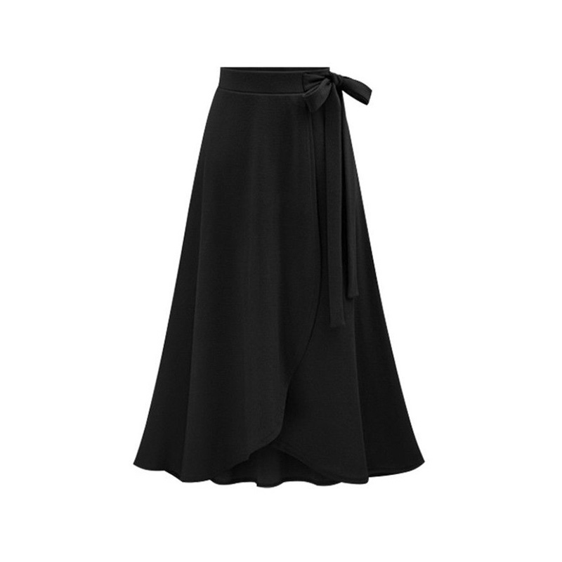 Stylish Women Plain High Waist Skirt Front Split Long Skirt Bow Knot Ladies Maxi Skirt