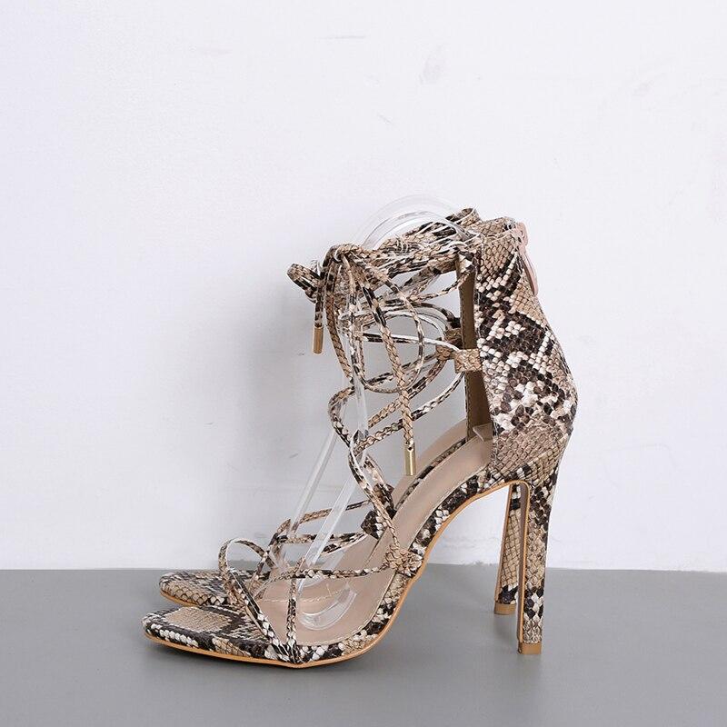 Thin Toe Moda Sandali Female Kiss estivo Strap High Print Party donna Cross Snake Serpente Shoes Open Wet Heels BwpYgqnpz