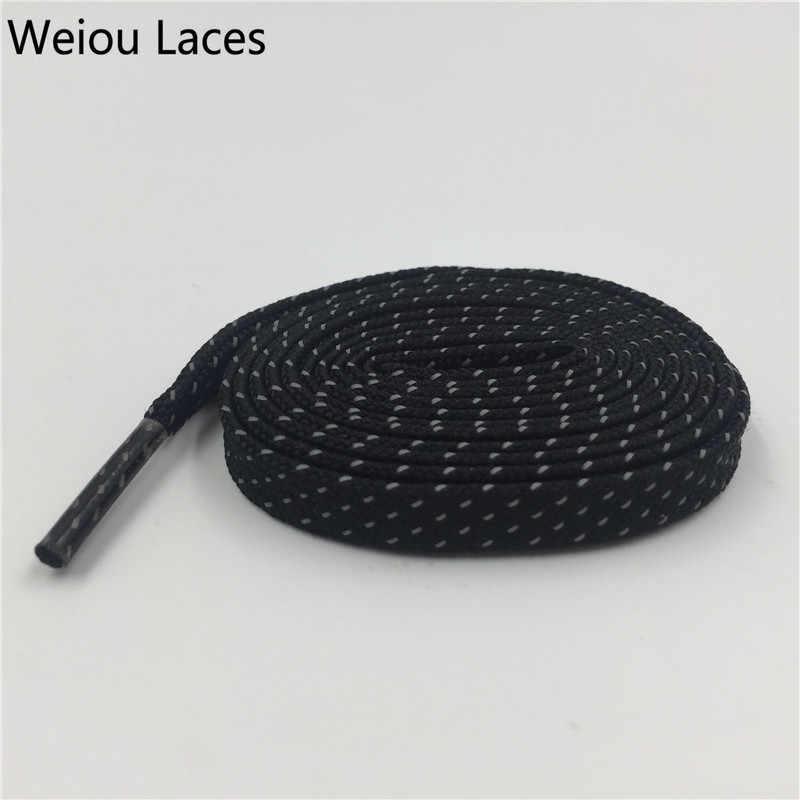 Weiou 3 M แบน Laces ที่มีสีสัน Bootlaces ดำ Tublar Shoestring สไตล์รองเท้าสะท้อนแสง Laces โลโก้ที่กำหนดเองสำหรับขาย 350