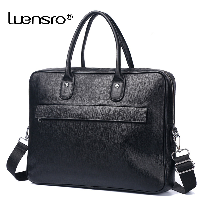 2019 New Men Large Briefcase Bag Genuine Leather Laptop Bag Shoulder Messenger Bags Business Computer Handbag Male Bag Black