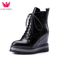 A BUYBEA 2017 woman new spring&autumn fashion Korea style comfortable hot sell wedges Inside increase elegant zipper boots