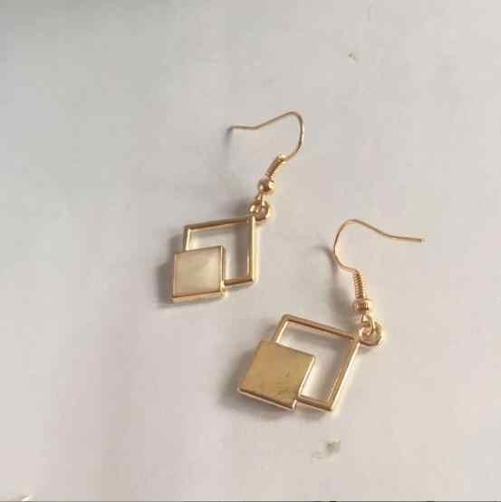 Ea554 Heat Pin Fashion Gothic Punk Tetes Minyak Geometris Persegi Retro Anting-Anting Perhiasan Daftar Baru