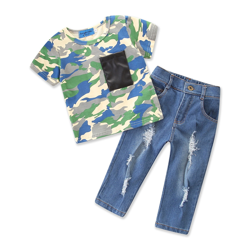 Baby Boy Clothes Summer Children 2pcs/set Camouflage T-shirt Tops+jeans Hole Pants Boys Suits Boutique Kids Clothing Size 1-5Y