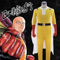 ONE PUNCH MAN full Suit Saitama Uniform Outfits Anime Cosplay Costume Superman Fighting Suit Jumpsuits + Cloak + Gloves + Belt