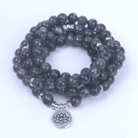 108 Mala Labradorite With Lotus OM Buddha Charm Yoga Bracelet Trendy Women S Men S Bracelet