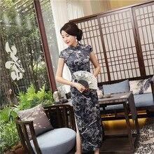 YZ Vintage Print Flower Chinese Women Dress Velvet Handmade Button Slim Cheongsam Sexy Mandarin Collar Ankle-Length Qipao