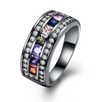 Colorful Cubic Zirconia Stone Black Gun Plated Rings For Men / Women Unique Designs Not Fade Party Cocktail Rock Finger Jewelry