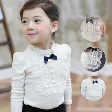 2016 Autumn Longsleeve Cotton T-shirt Girls Top Fashion Baby Kids Clothes With Lace And Bowknot Korean Style Children Girl Tops