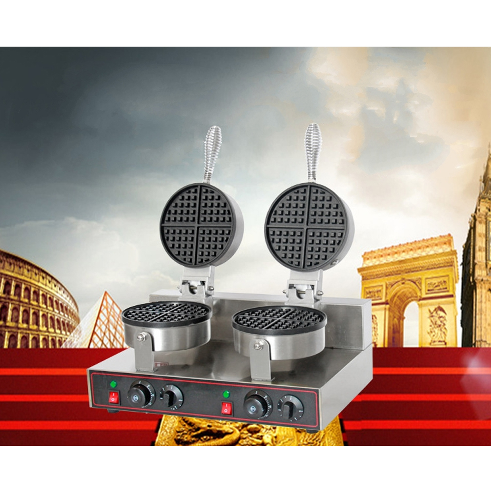 220V/50Hz Commercial Waffle Maker Double Independent Burners with Non-stick Surface Waffle Grills Machine digital and commercial double head waffle maker rectangle waffle machine