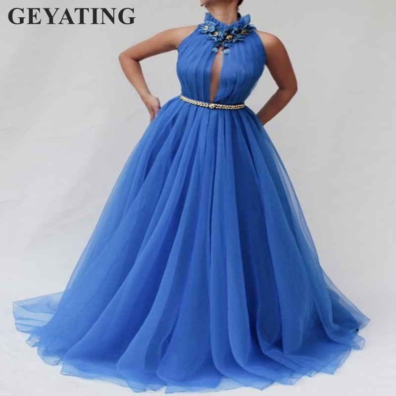 Elegant Blue High Neck Long   Prom     Dresses   2019 New Women Evening Gowns for Wedding Keyhole Tulle Crystal Special Occasion   Dress