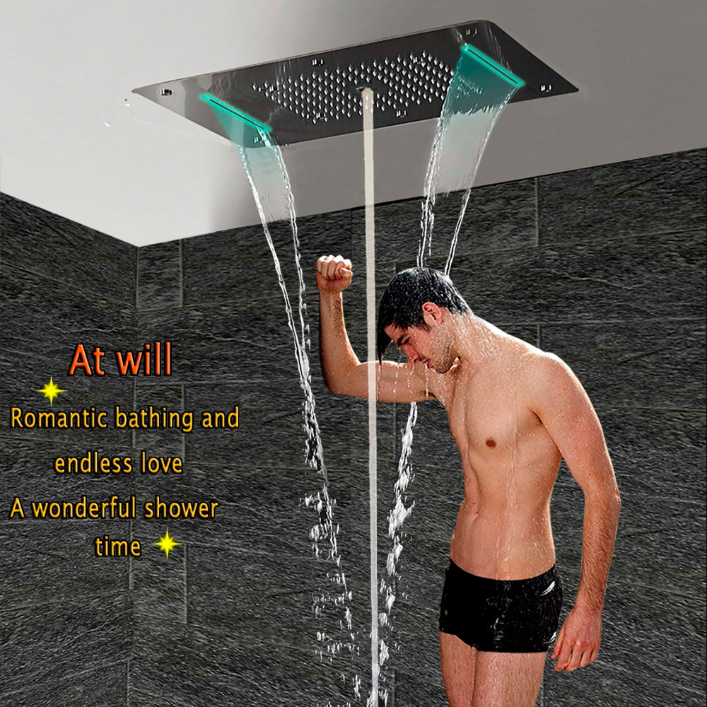 Shower Head LED Ceiling Luxury Square Overhead Shower Stainless Steel 700x380mm Big Bathroom Rainfall Waterfall Rain Bubble Mist