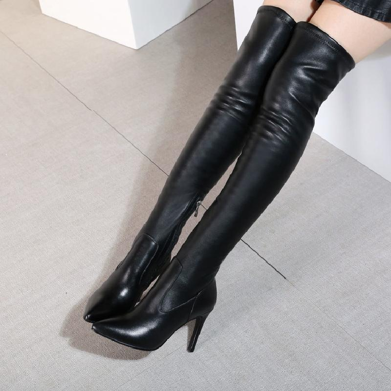 winter boots women over the knee boots genuine leather boots thigh high boots female 2017 heel fashion black shoes woman &6028 women over the knee boots black velvet long boots ladies high heel boots sexy winter shoes chunky heel thigh high boots
