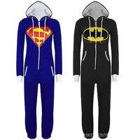 Das mulheres dos homens Cosplay Anime Batman Batgirl Onesie tudo em um capuz Jumpsuit geral macacão macacão com capuz pijamas S XL XXL
