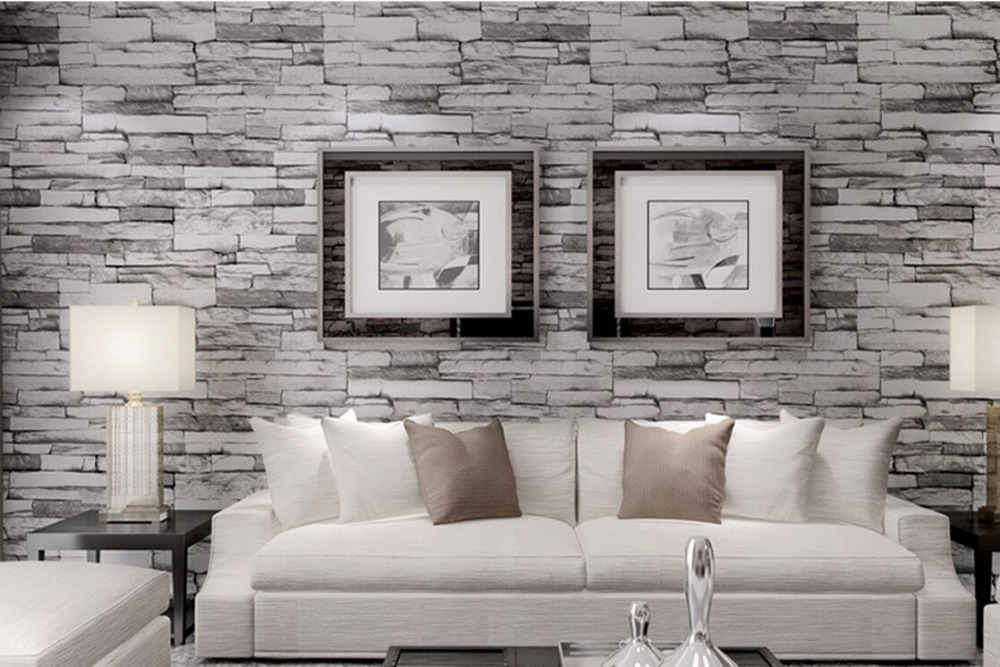 Chinese wood blocks effect brown and dark gary wood brick - Wood effect wallpaper living room ...
