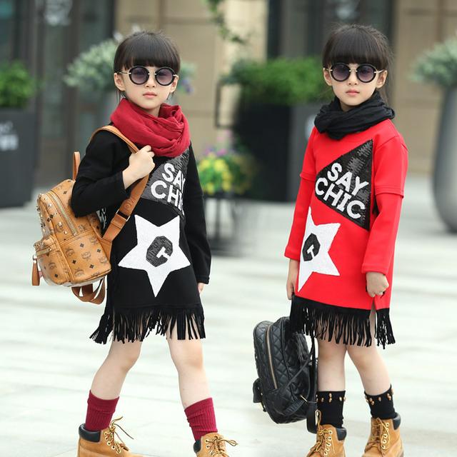 Fantasía niñas otoño invierno largo sleev vestidos de lana de la capa caliente con borlas para niños vestido interior de altura 110-160 cm