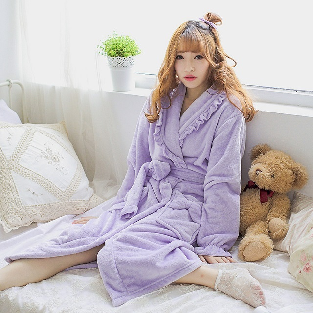 Lavender plush robe adult women hooded pajamas winter lovely ruffles  sleepwear bow bath robe dressing gowns with hat and sashes df94c396c