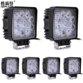 6PCS/Lot 4inch 27W 12V Square Led Car Work Lights for Off road 9*3W Led Light 27W Flood Beam Car Driving Light Truck Fog Lamp