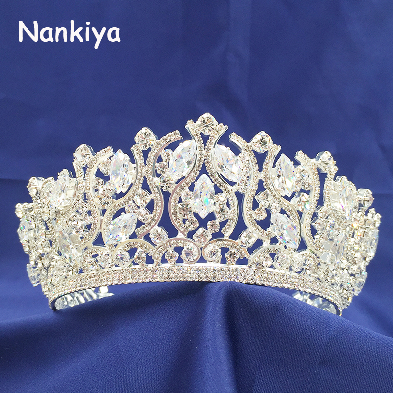 Nankiya Bridal Hair Crowns Tiaras New Arrival Sparkling Zirconia Rhinestones Crystal Wedding Hair Diadem Crown Women NT3235Nankiya Bridal Hair Crowns Tiaras New Arrival Sparkling Zirconia Rhinestones Crystal Wedding Hair Diadem Crown Women NT3235