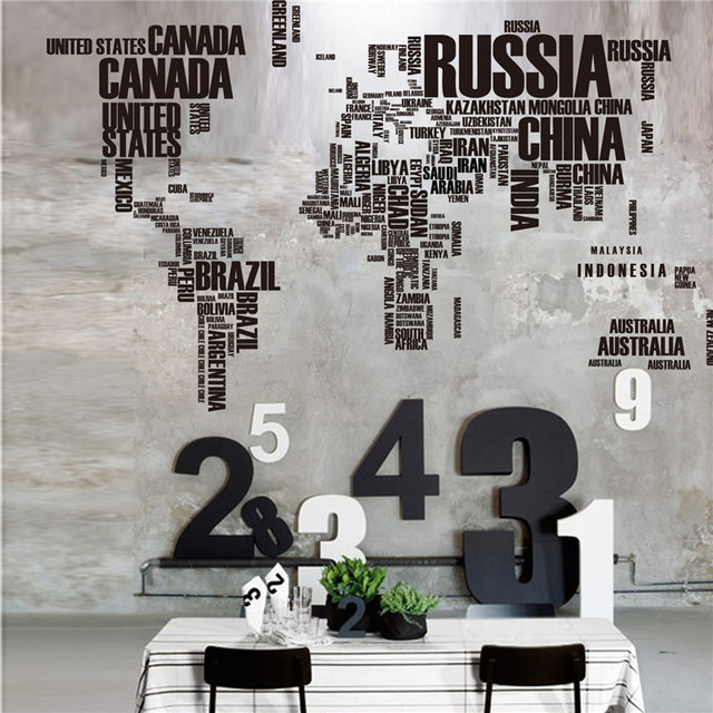 Wallpaper Creative Letter World Map Wall Sticker Aesthetic English