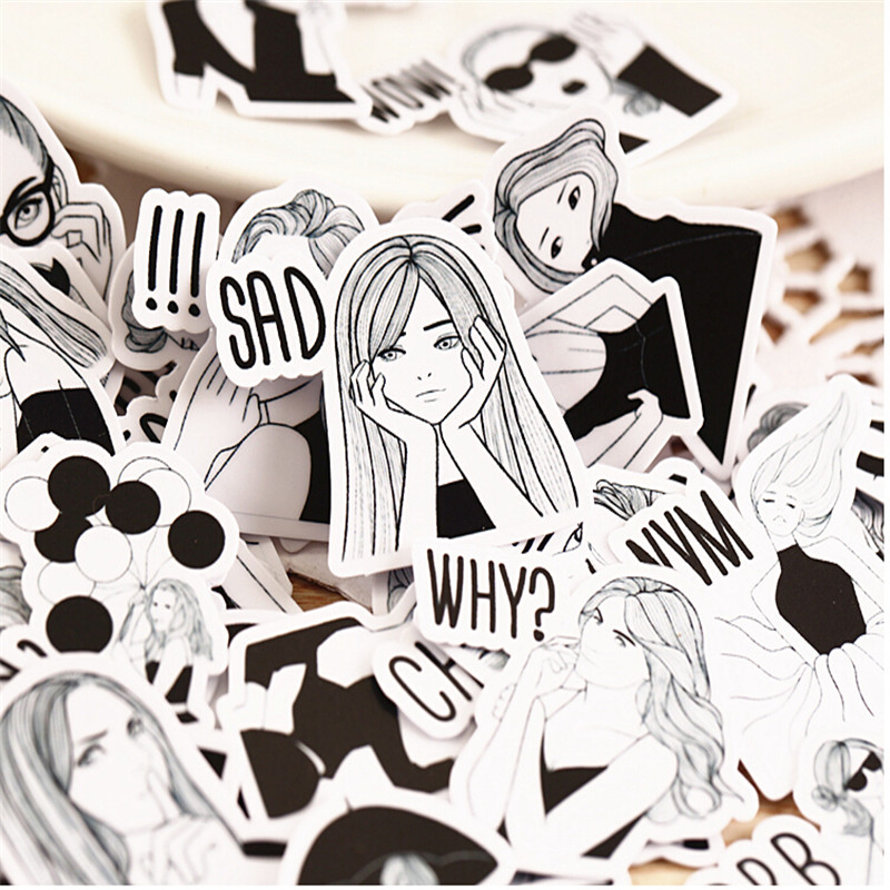 40pcs Creative Cute Self-made Black And White Fashion Girl Scrapbooking Stickers /Decorative Sticker /DIY Craft Photo Albums