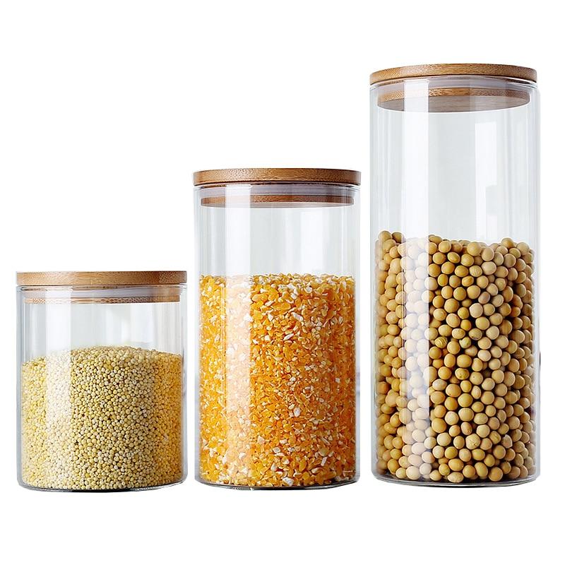 6 Méret üveg tároló palackok Élelmiszer-tartály konyhai tartályokhoz Üvegdobozok Fűszer tea Vákuum sapkák Cukor tál boksz pecsét fedél