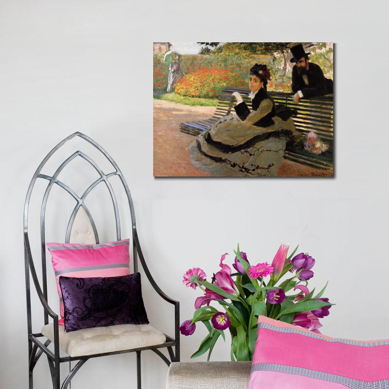 Camille Monet On A Garden Bench Of Claude Monet Art Oil Paintings Canvas  Reproduction Hand Painted In Painting U0026 Calligraphy From Home U0026 Garden On  ...