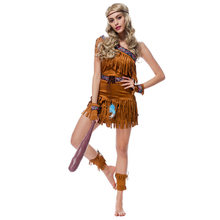 Sexy Women's Fringed Native Indians Princess of Savage Forests Hunter Costume Set Cosplay For Halloween Party M XL(China)