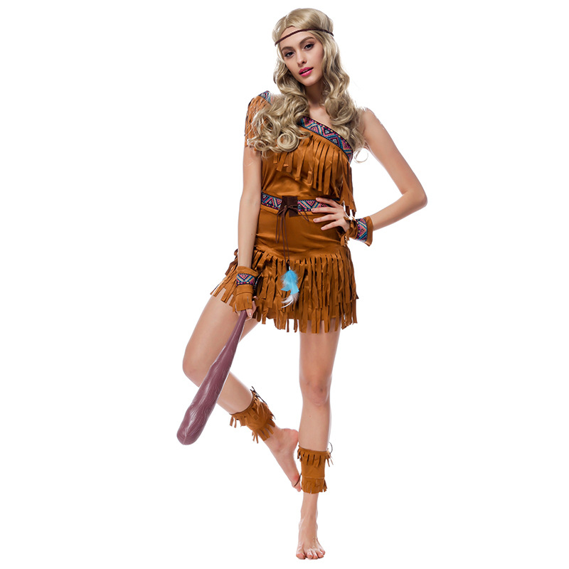 Sexy Women's Fringed Native Indians Princess Of Savage Forests Hunter Costume Set Cosplay For Halloween Party M XL
