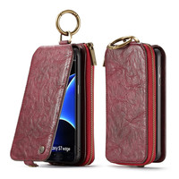CaseMe Luxury Genuine Leather Cover Case For Samsung Galaxy S7 Edge Phone Case Multi Function Removable