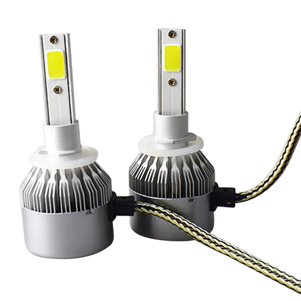 1pairs Auto Car H8 H3 H11 H7 H4 H1 LED Headlights 6000K Cool white 72W 7600LM COB Bulbs Diodes Automobiles Parts Lamp