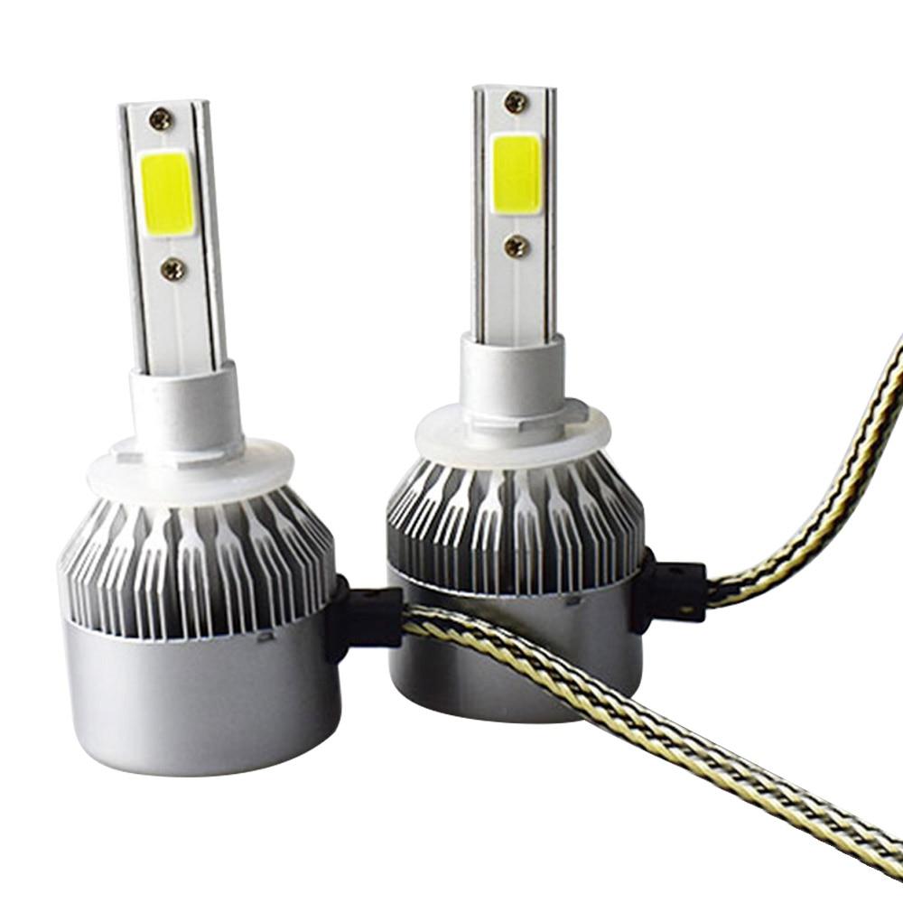 1pairs Auto Car H8 H3 H11 H7 H4 H1 LED Headlights 6000K Cool White 72W 7600LM COB Bulbs Diodes Automobiles Parts Lamp