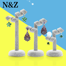 N&Z 3pcs/set Gray Color Velvet Jewelry Presentor Stand Earrings Exhibitor Organizer Ear Nail Display Holder Jewelry Display