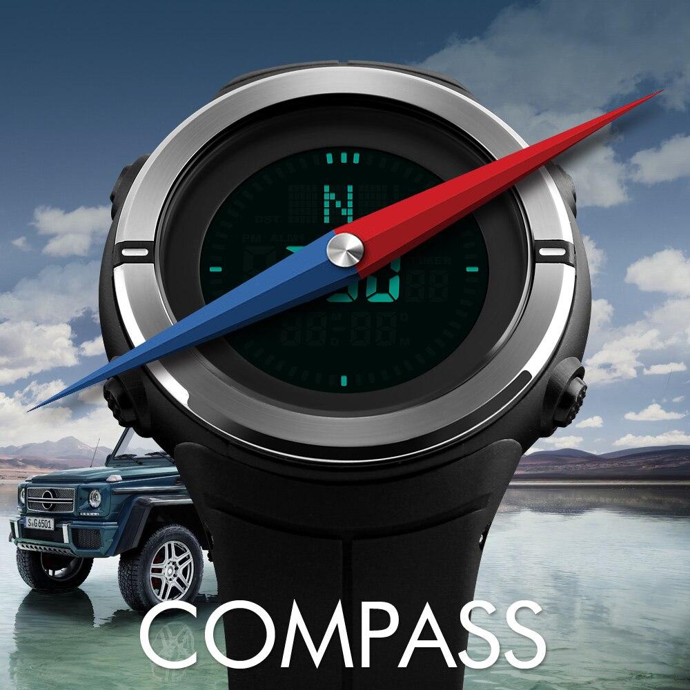 SKMEI Brand Compass Watches 5ATM Water Proof Digital Outdoor Sports Watch Men's Watch EL Backlight Countdown Wrist Watches 1294