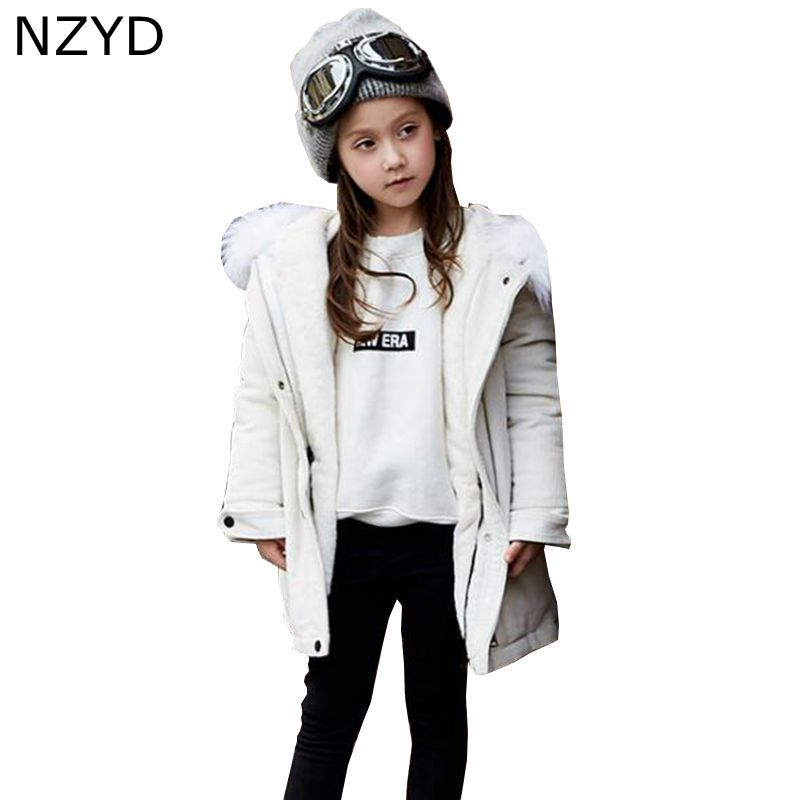 New Fashion Autumn Winter Girls Coat Han edition 2017 Children Single-breasted Down jacket Casual Warm Kids Clothes DC682 fashion 2017 autumn winter kids girls warm outerwear jacket turn down collar one button plaid wool coat children girls clothes