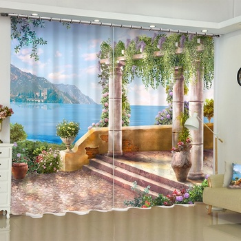 Beautiful Garden 3d Scenery Fabric Curtains Blackout for Living Room Bedroom Kitchen Short Drapes Balcony French Windows