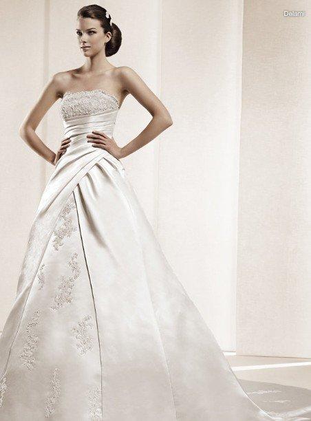 SA142 Free shipping made to measure long trialing Silk taffeta wedding dresses