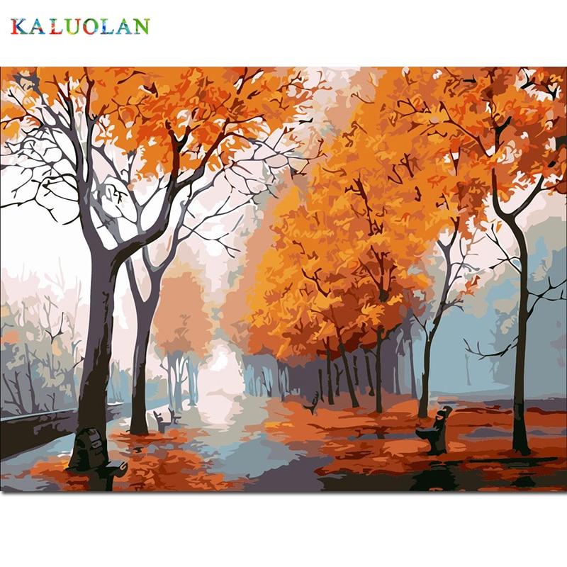 INIZIO BELLEZZA immagine di vernice su tela diy pittura a olio digitale dai numeri di disegno home decor craft-Dopo la pioggia autunnale strada