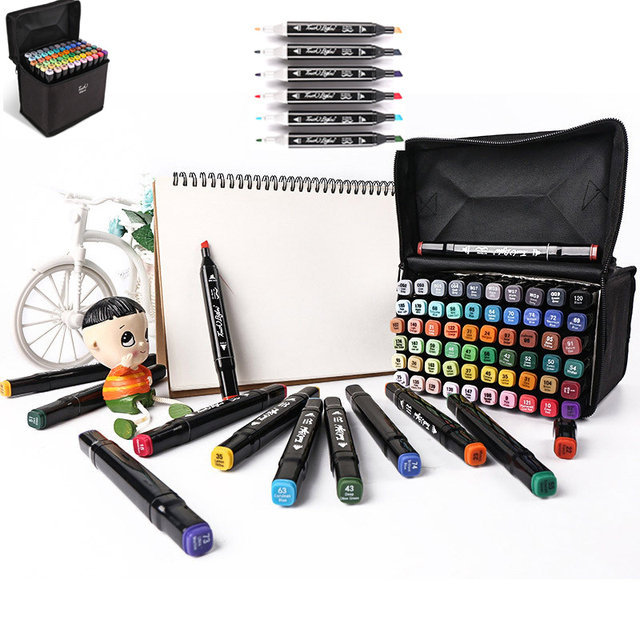 30/40/60/80 Colors Art Markers Set Dual Head Alcohol Sketch Markers Pen For Manga Drawing Markers Dsign Animation Manga Draw