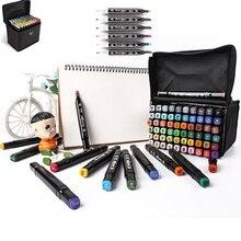 30/40/60/80 cores marcadores de arte conjunto dupla cabeça álcool esboço marcadores caneta para desenho de manga marcadores dsign animação mangá desenhar