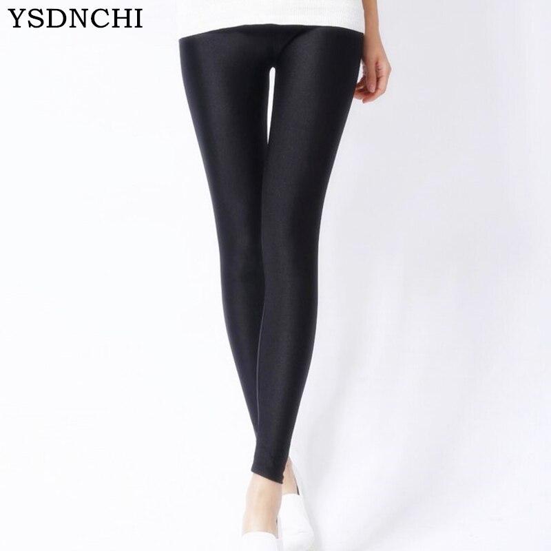 YSDNCHI 2018 Spring Leggins Elastic Multicolour Candy   Leggings   Mid Waist Ankle Length Trousers Knitted Ultra   Legging   Milk Silk